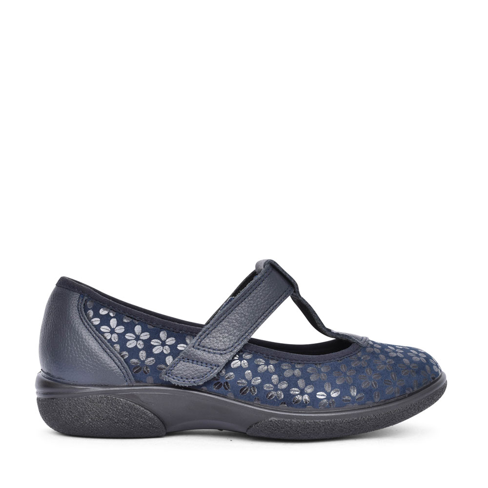 LADIES AURORA 2V EXTRA WIDE VELCRO T-BAR SHOE in NAVY