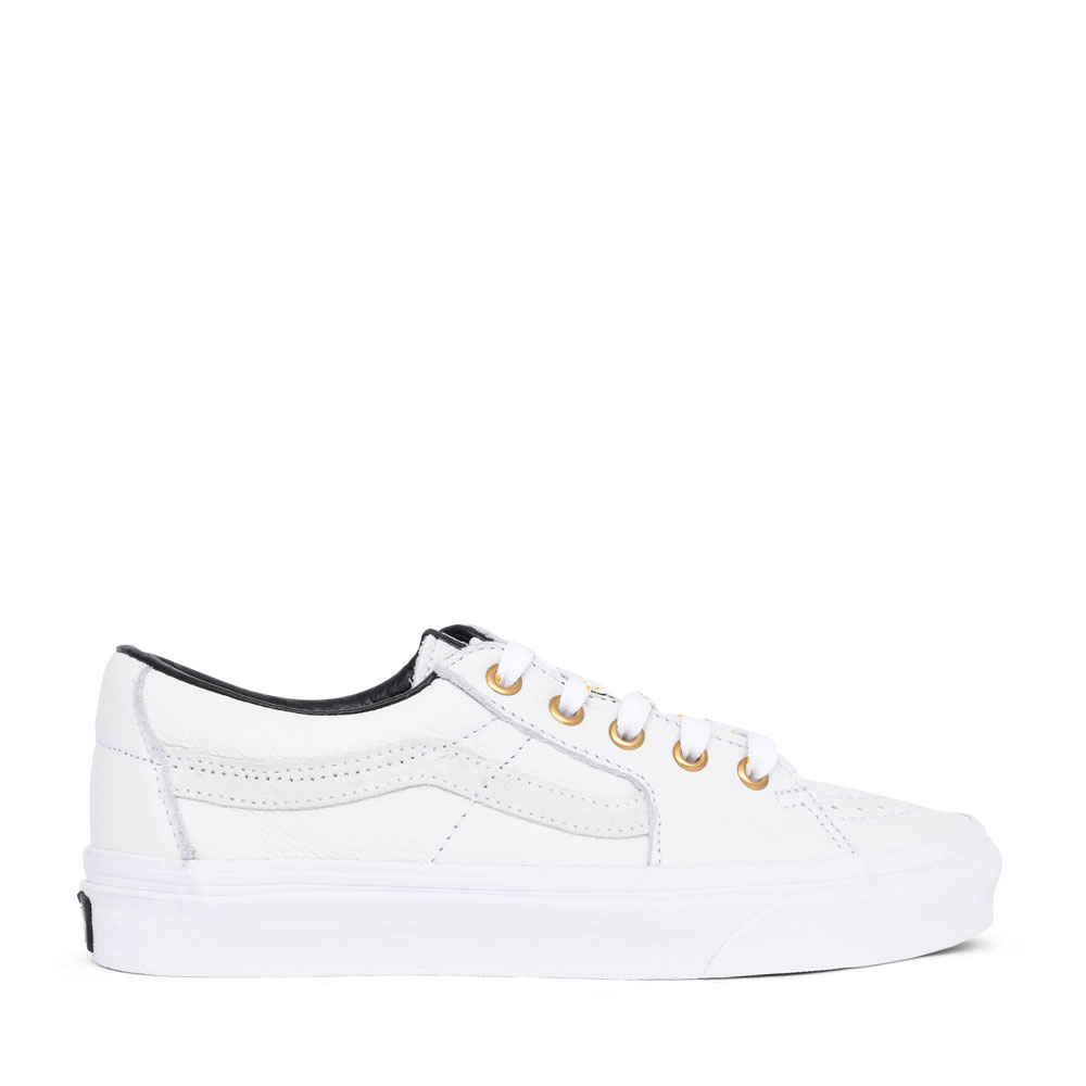 UNISEX ADULTS SK8-LOW LEATHER LACED SHOE in WHITE