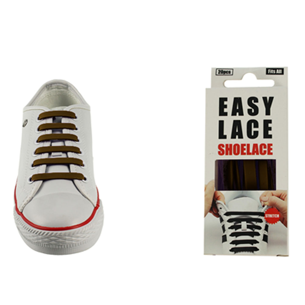 BOXED EAS110 FLAT SILICONE LACES in BROWN