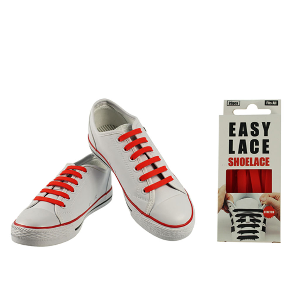 BOXED EAS110 FLAT SILICONE LACES in RED