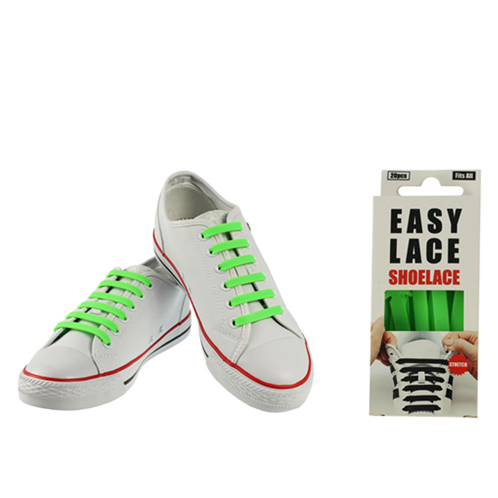 BOXED EAS110 FLAT SILICONE LACES in GREEN