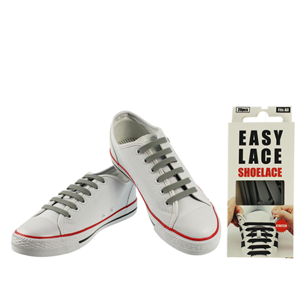 BOXED EAS110 FLAT SILICONE LACES in GREY