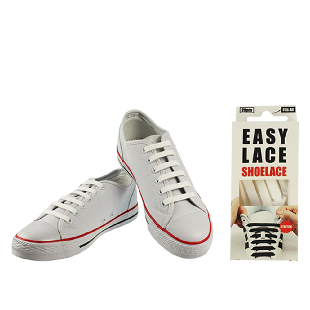 BOXED EAS110 FLAT SILICONE LACES in WHITE