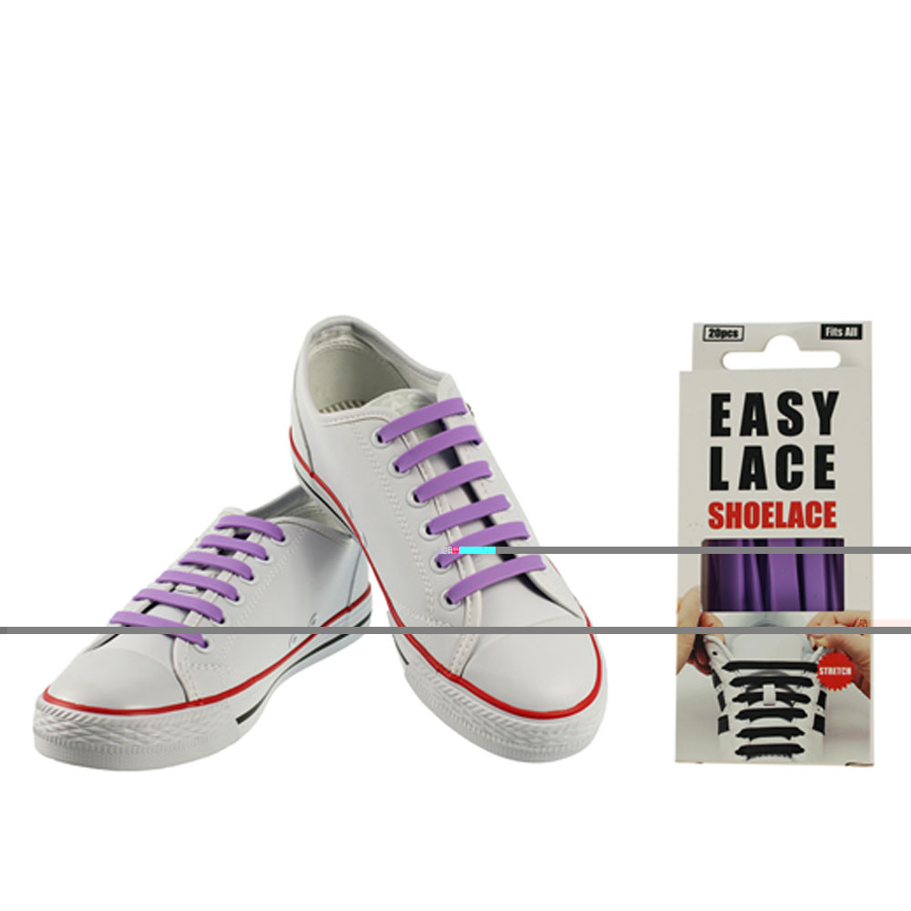 BOXED EAS110 FLAT SILICONE LACES in PURPLE