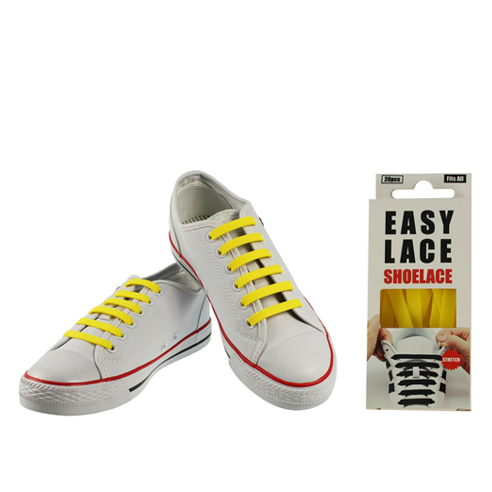 BOXED EAS110 FLAT SILICONE LACES in YELLOW