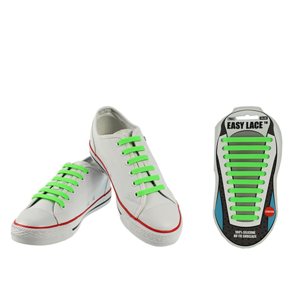 ADULTS EAS210 CARDED FLAT SILICONE LACES in GREEN