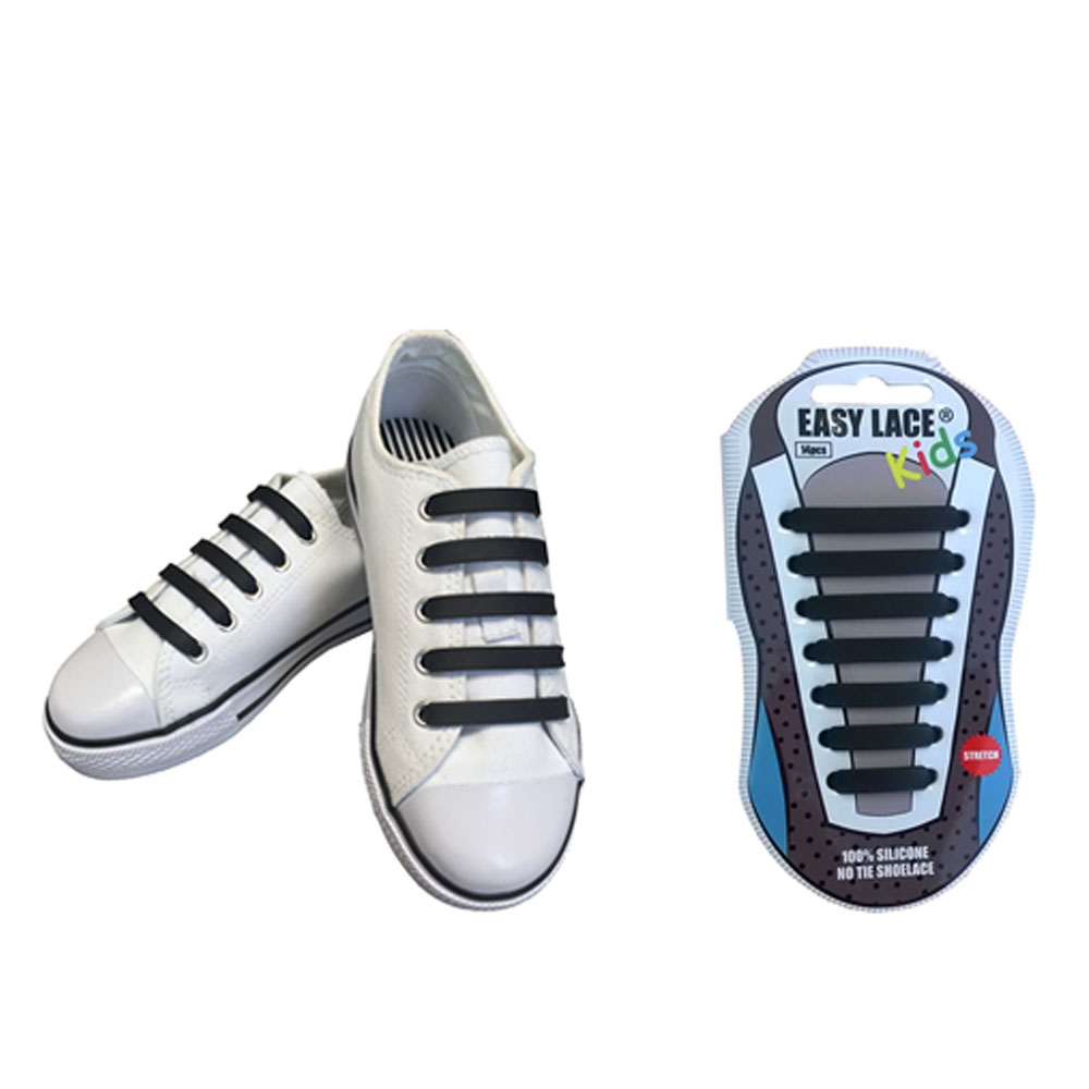 KIDS EAS310 FLAT SILICONE LACES in BLACK