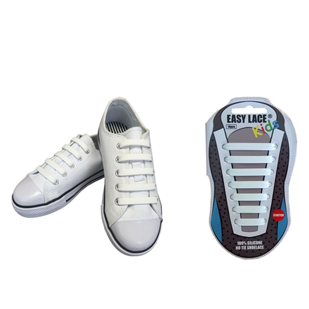 KIDS EAS310 FLAT SILICONE LACES in WHITE