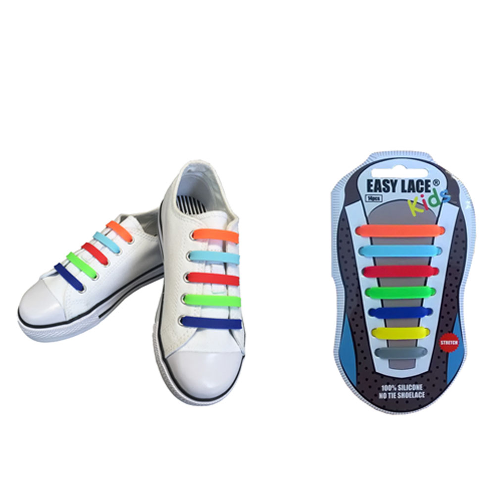 KIDS EAS310 FLAT SILICONE LACES in MULTI-COLOUR