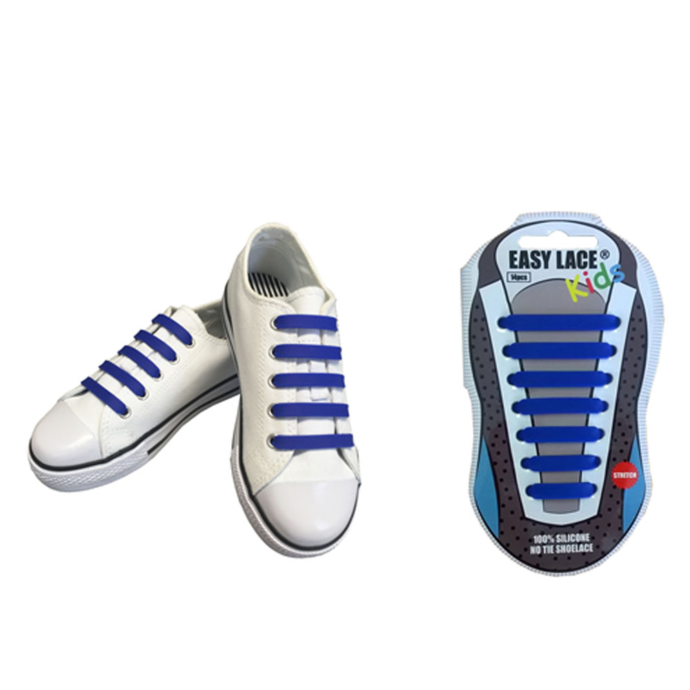KIDS EAS310 FLAT SILICONE LACES in BLUE