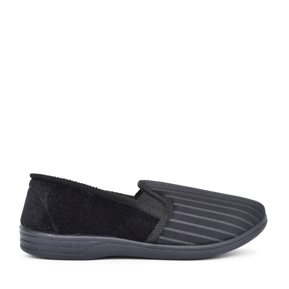 MENS CHARLES STRIPED SLIPPER in BLACK