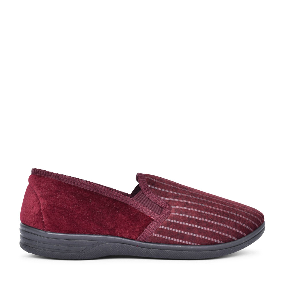 MENS CHARLES STRIPED SLIPPER in BURGANDY