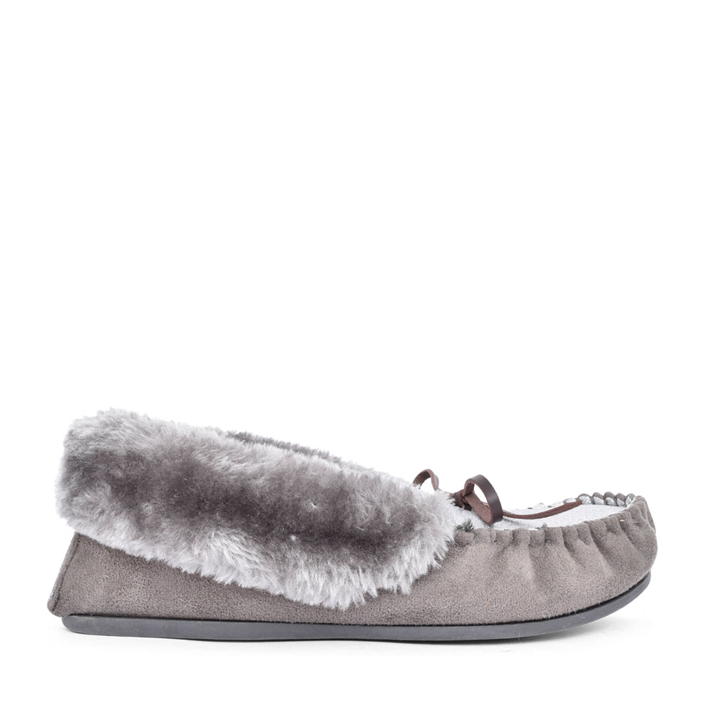 LADIES SAMMY FUR LINED MOCCASIN SLIPPER in GREY