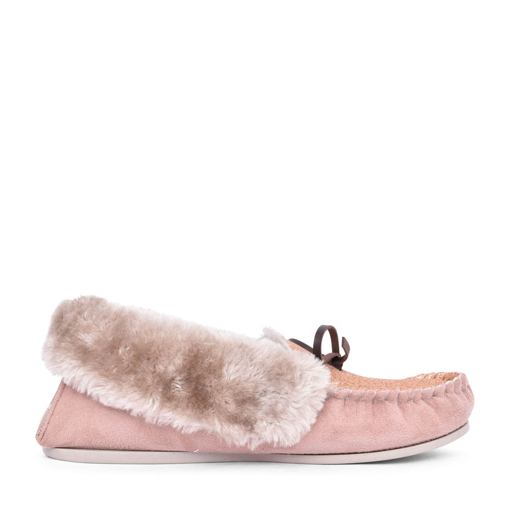 LADIES SAMMY FUR LINED MOCCASIN SLIPPER in MINK