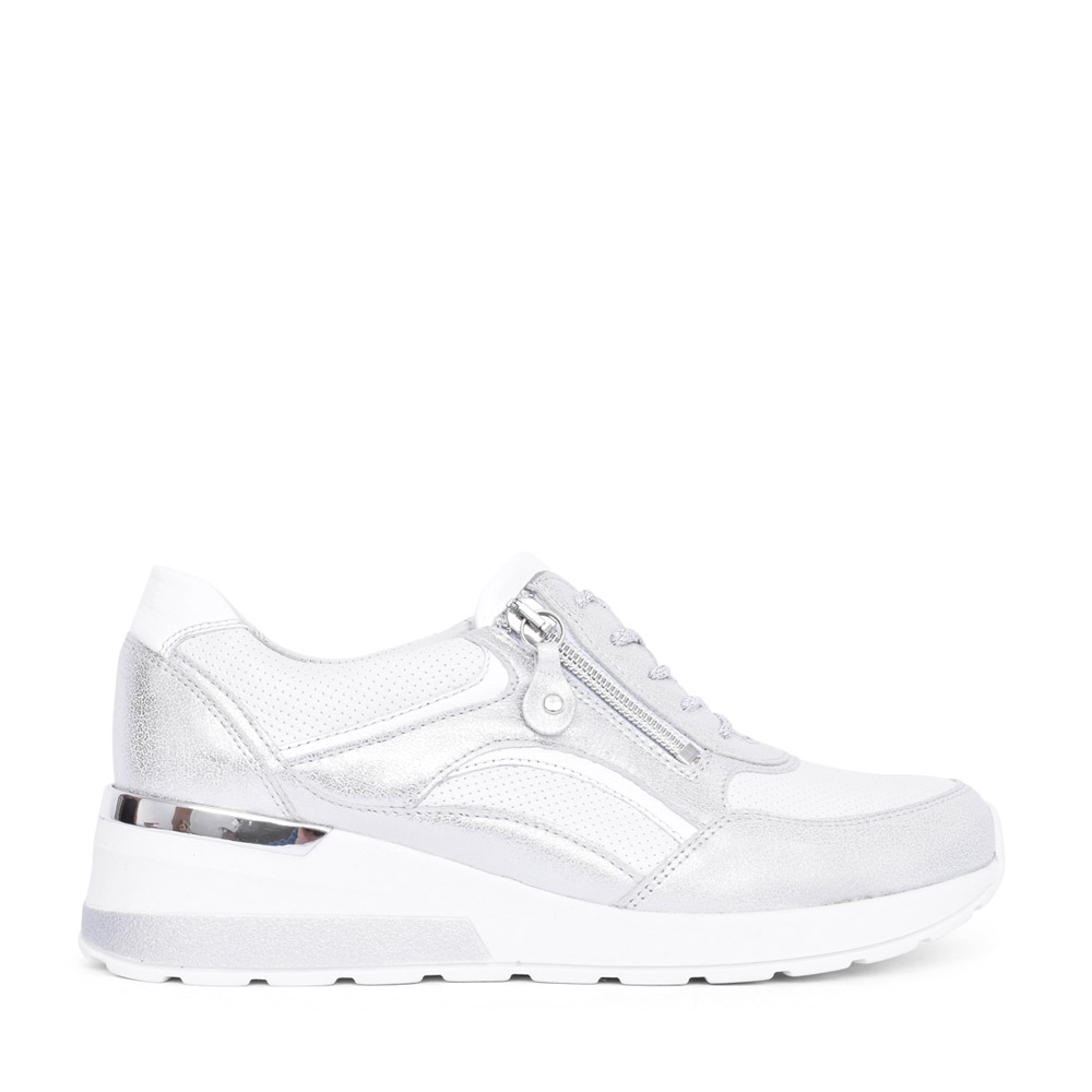 LADIES 939011 H-CLARA LACED TRAINER in SILVER