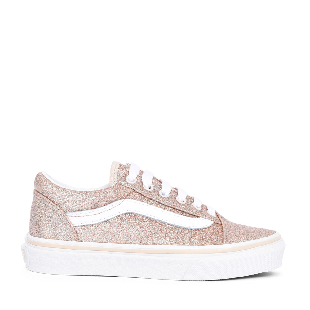 GIRLS OLD SKOOL VANS GLITTER LACED SHOE in GOLD