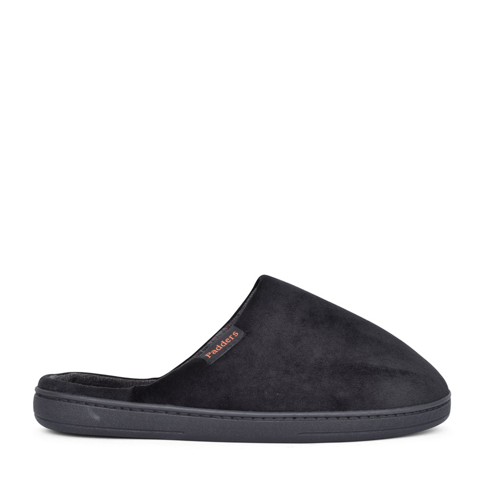 LADIES JUSTIN WIDE FIT SLIPPER in BLK LEATHER