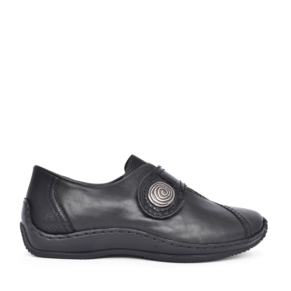 LADIES L1760 VELCRO SLIP ON SHOE in BLACK