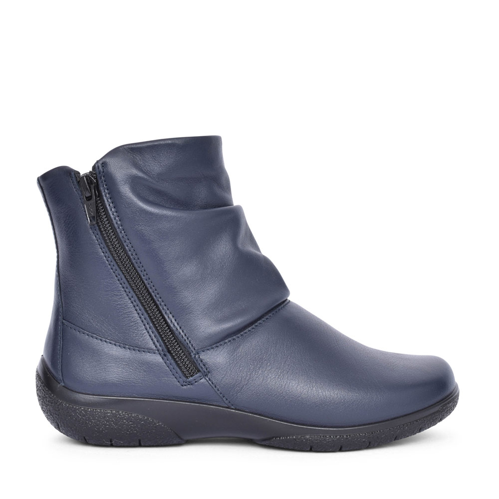 LADIES WHISPER WIDE FIT LEATHER ANKLE BOOT in NAVY