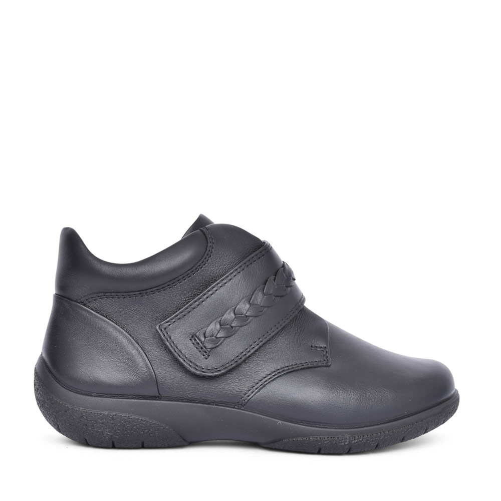 LADIES DAYDREAM II WIDE FIT VELCRO ANKLE BOOT in BLACK
