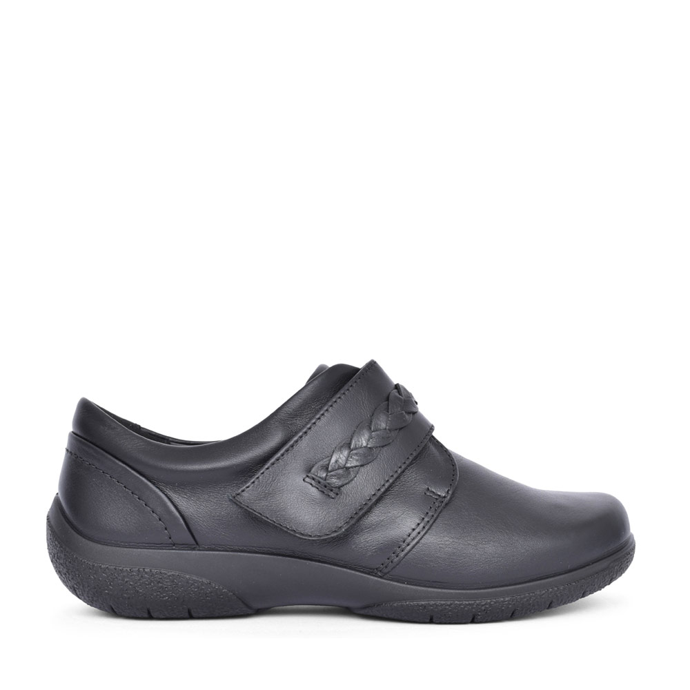 LADIES SWEET LEATHER WIDE FIT VELCRO SHOE in BLACK