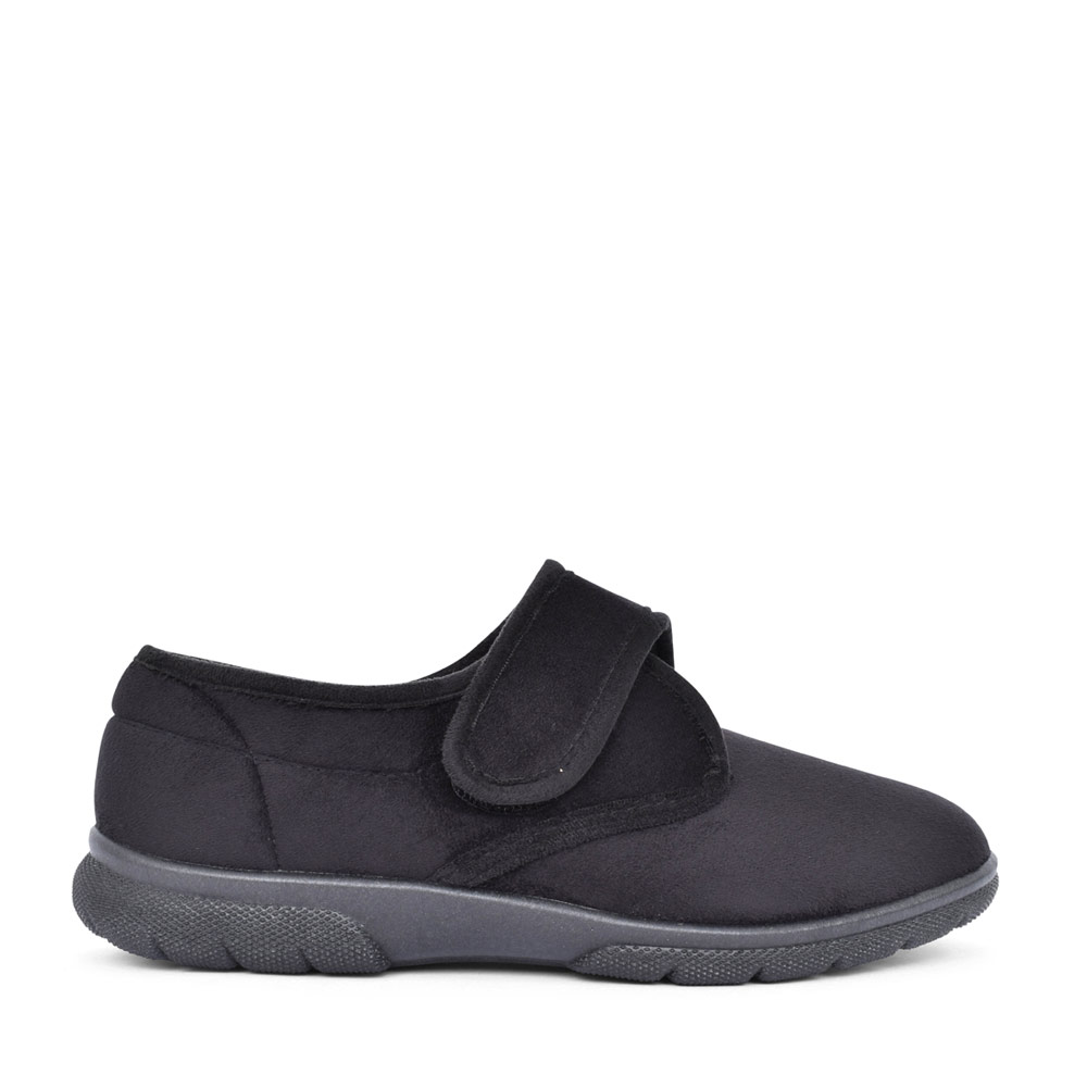 MENS DANIEL 2V EXTRA WIDE VELCRO SLIPPER in BLACK