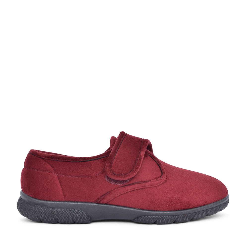 MENS DANIEL 2V EXTRA WIDE VELCRO SLIPPER in BURGANDY