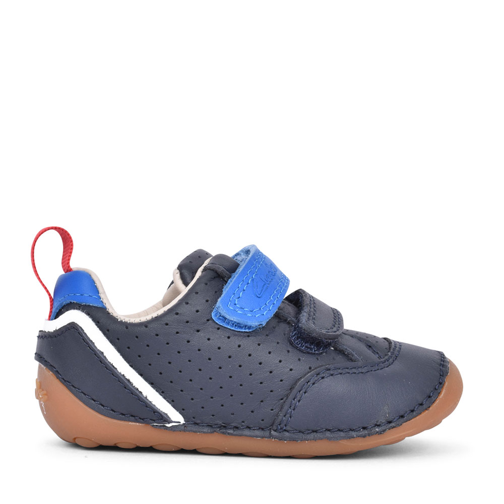 BOYS TINY SKY NAVY LEATHER VELCRO SHOE in KIDS F FIT