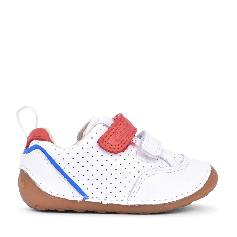 BOYS TINY SKY WHITE LEATHER VELCRO SHOE in KIDS F FIT