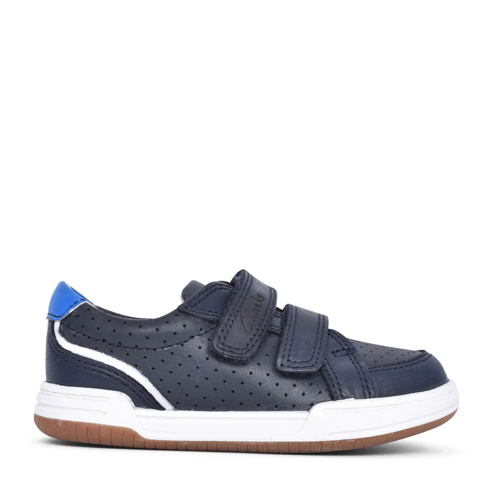 BOYS FAWN SOLO NAVY LEATHER VELCRO SHOE in KIDS H FIT