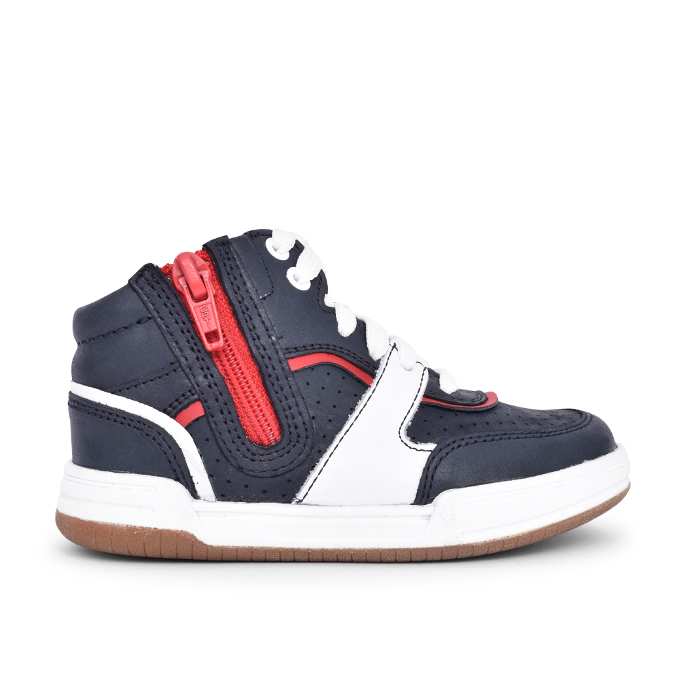 BOYS FAWN PEAK NAVY LEATHER BOOT in KIDS G FIT
