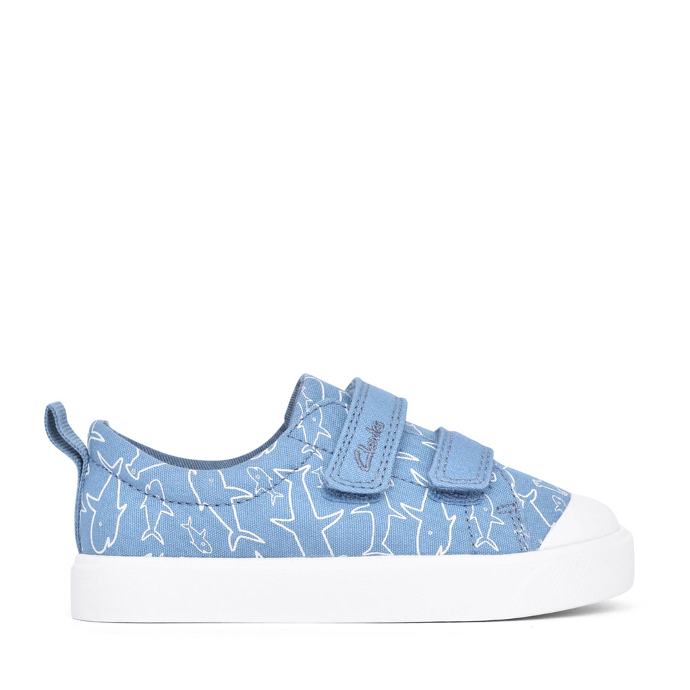 BOYS CITY BRIGHT MID BLUE CANVAS VELCRO SHOE in KIDS F FIT