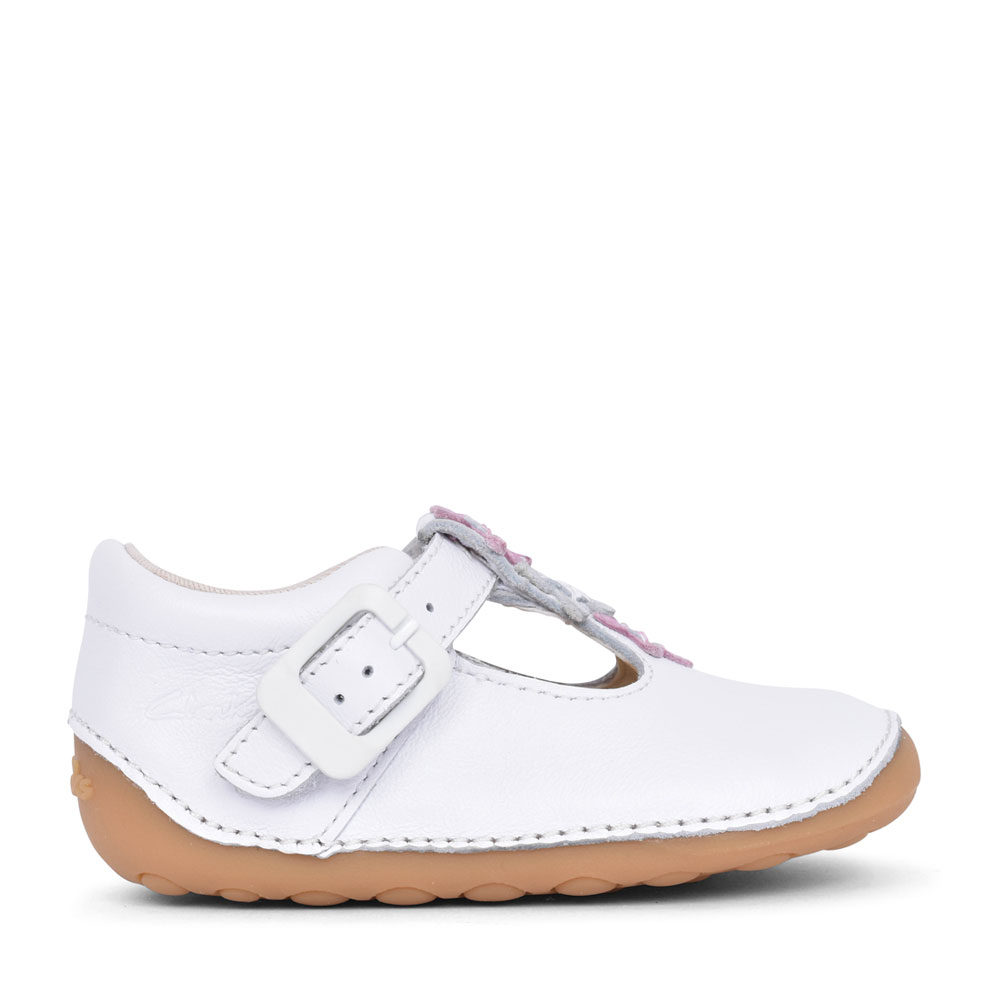 GIRLS TINY FLOWER WHITE LEATHER T-BAR SHOE in KIDS G FIT