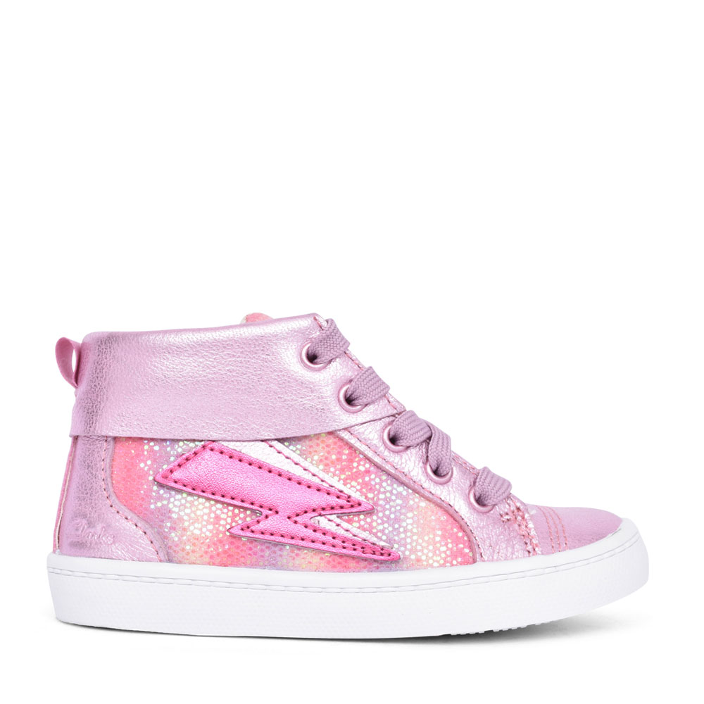 GIRLS CITY MYTH LIGHT PINK COMBI LEATHER HI-TOP ANKLE BOOT in KIDS F FIT