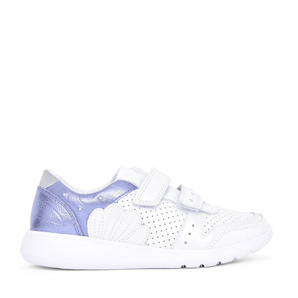 GIRLS SCAPE SHELL WHITE LEATHER VELCRO TRAINER in KIDS F FIT