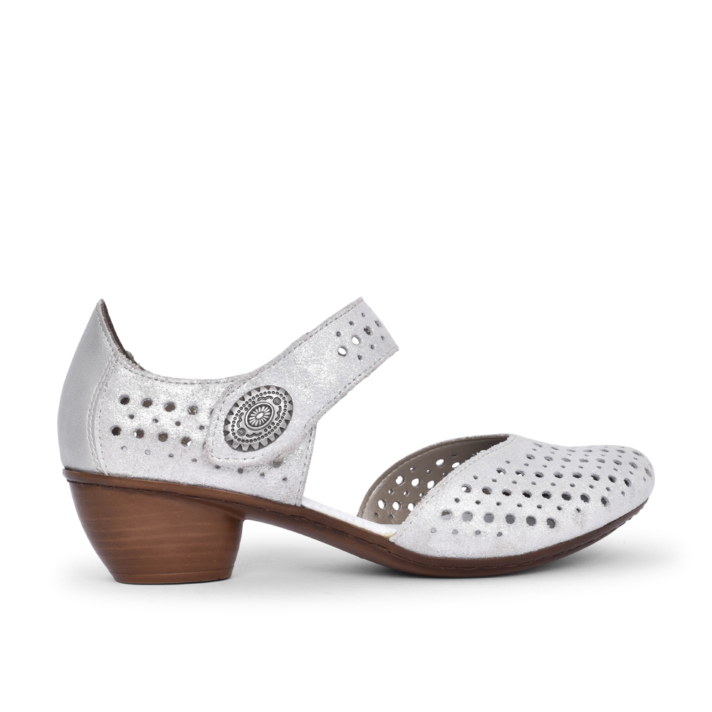 LADIES 43766 VELCRO MARY JANE SHOE in SILVER