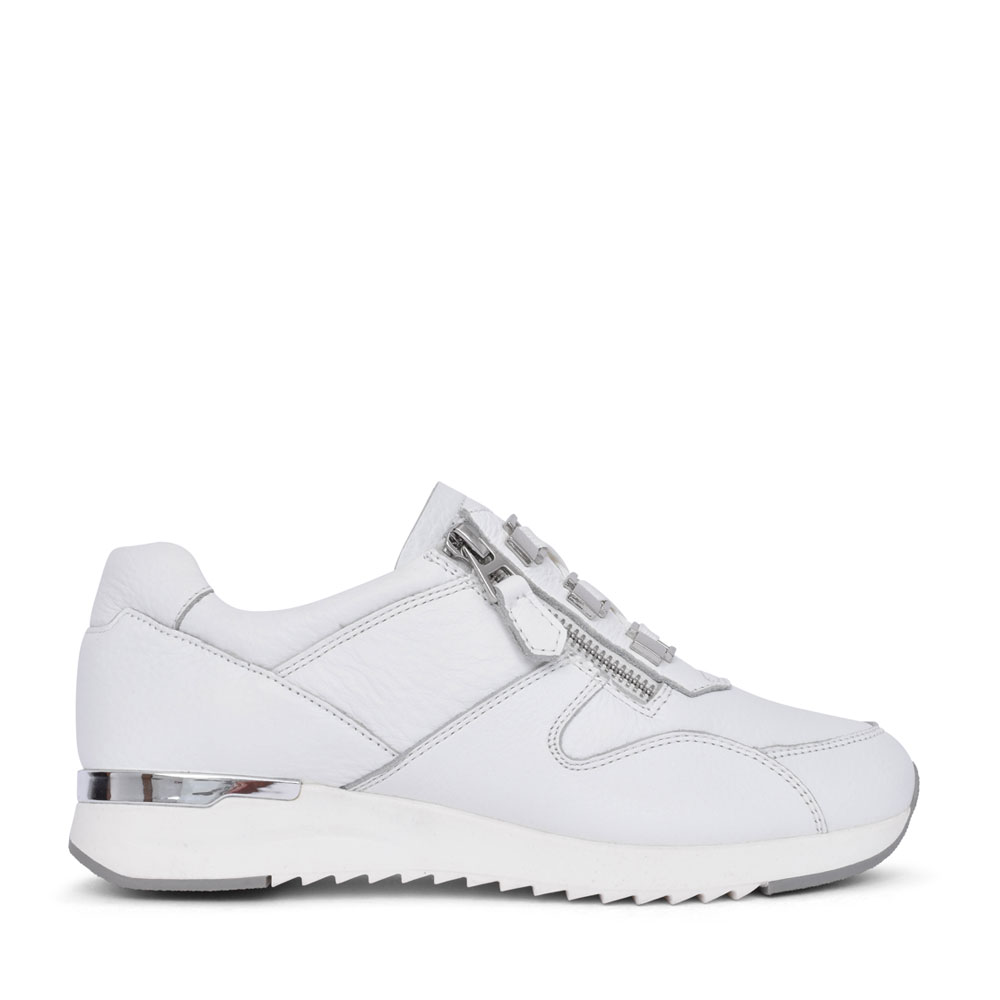 LADIES 9-23704 LACE UP TRAINER in WHITE