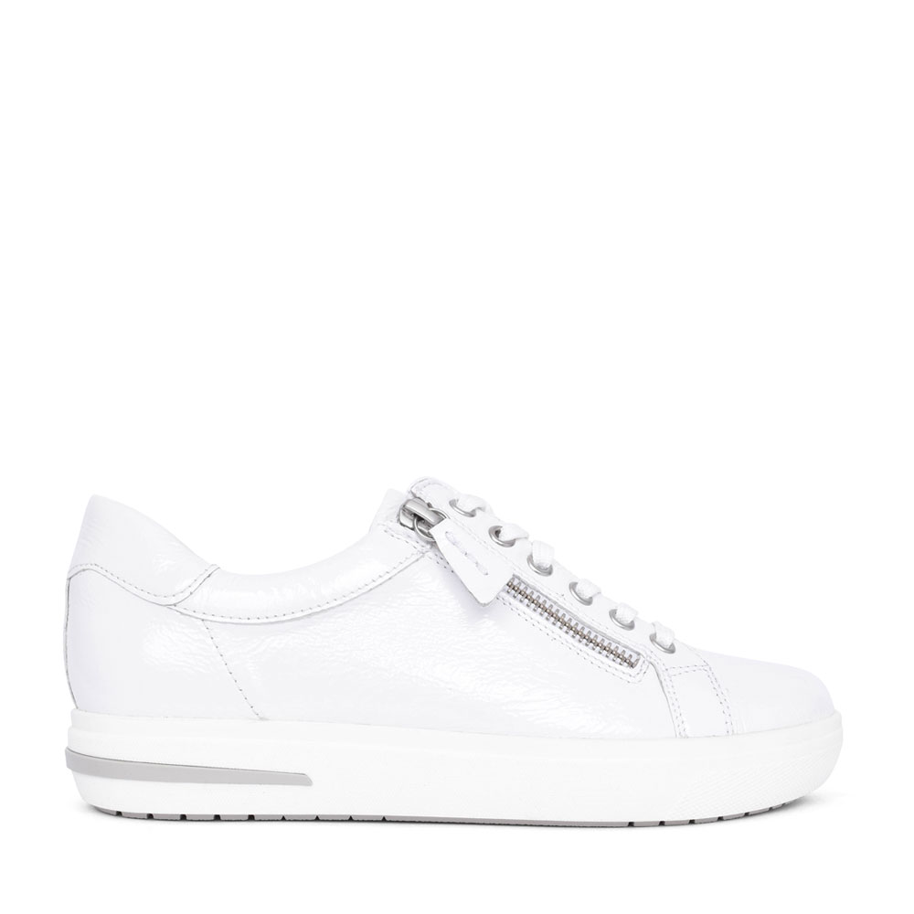 LADIES 9-23753 LACE UP LEATHER SHOE in WHITE