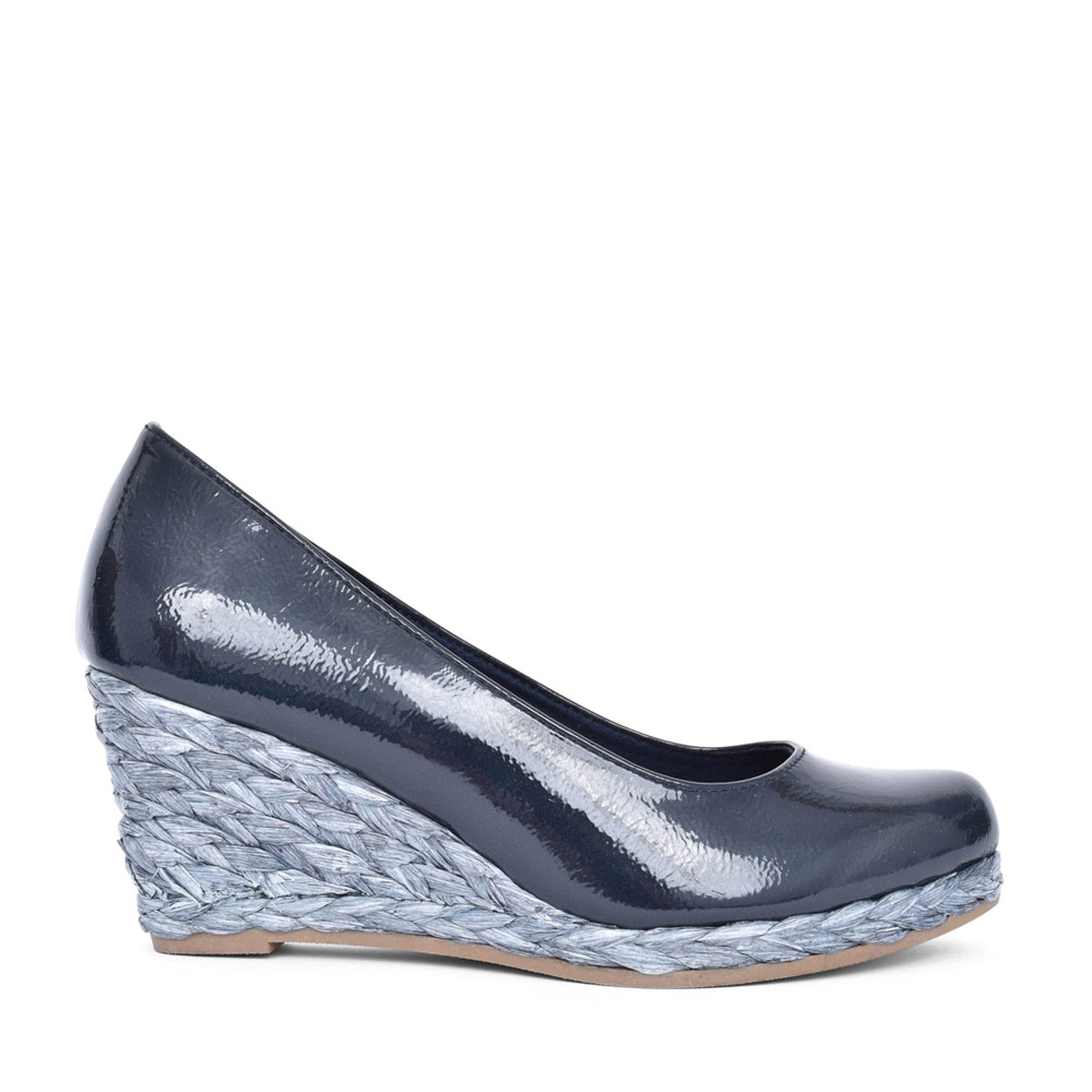 LADIES 2-22440 SLIP ON WEDGE SHOE in NAVY PATENT