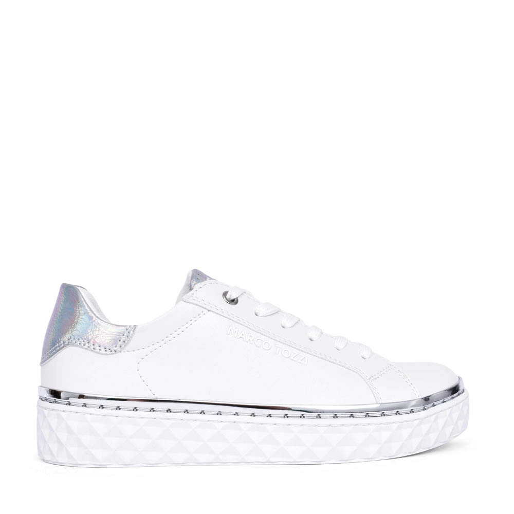 LADIES 2- 23705 LACE UP SHOE in WHITE