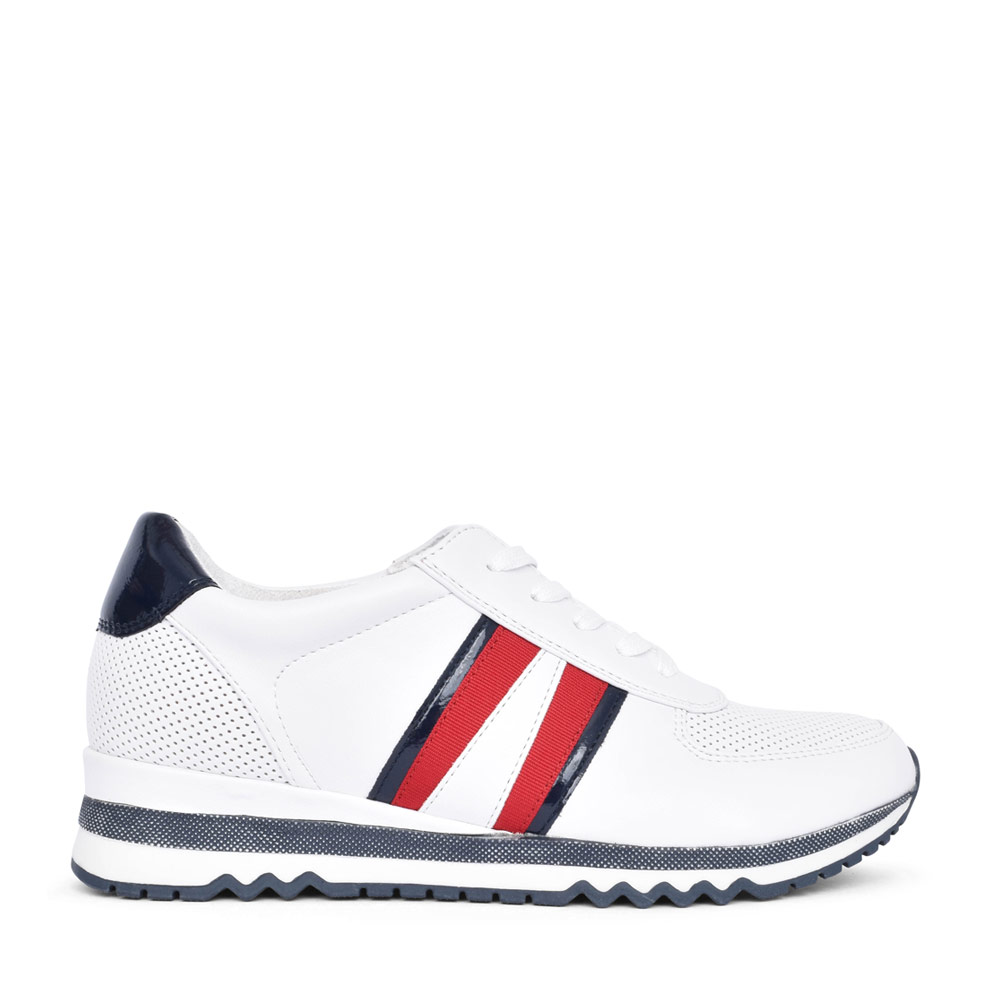 LADIES 2-23766 LACE UP TRAINER in WHITE