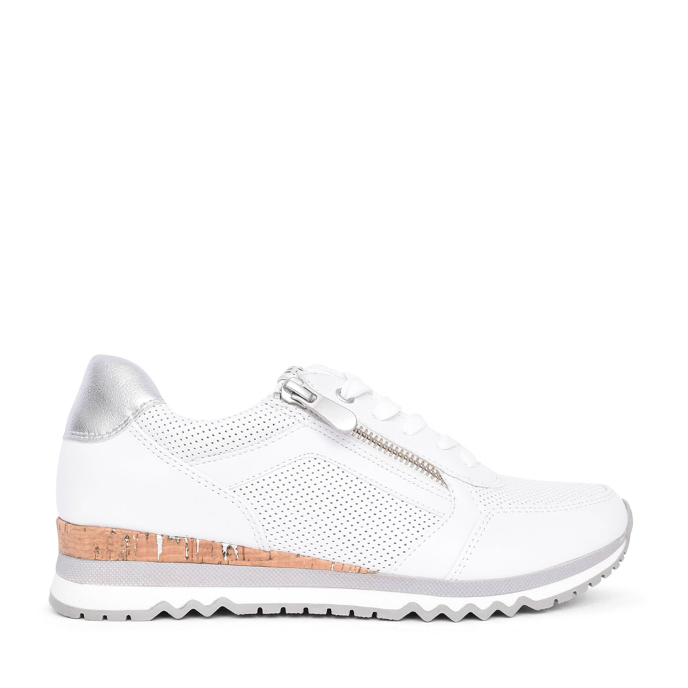 LADIES 2-23782 LACE UP TRAINER in WHITE