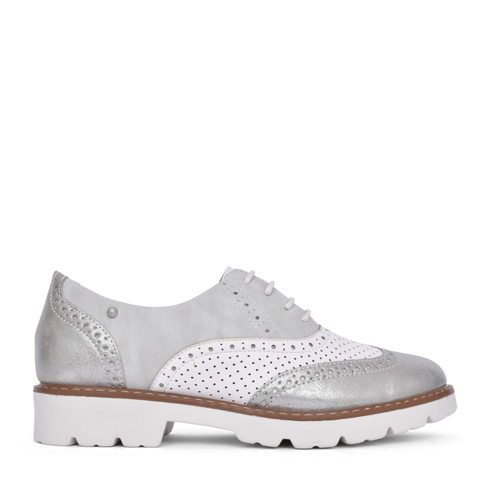 LADIES TAMPA BAY LACE UP BROGUE SHOE in SILVER
