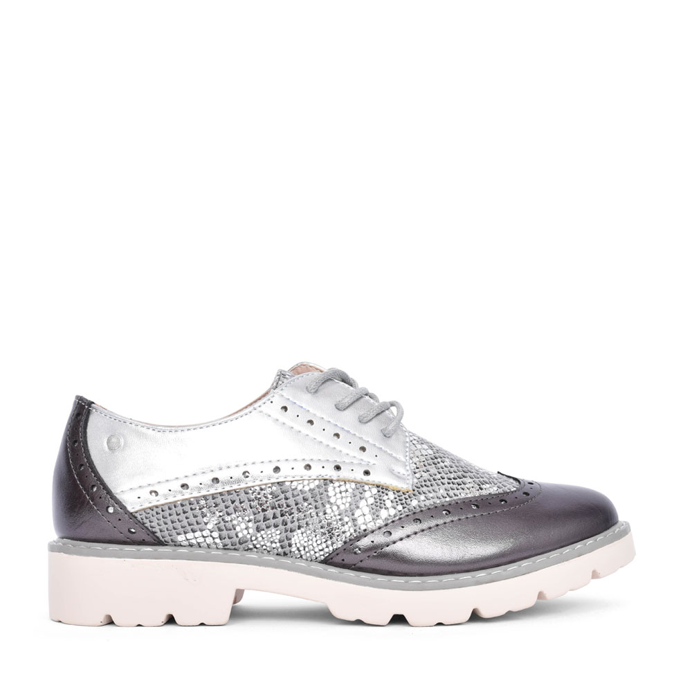 LADIES SIWA BROGUE SHOE in PEWTER