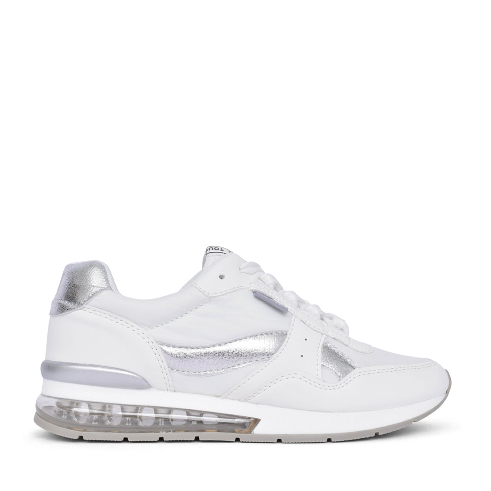 LADIES 42621 LACE UP TRAINER in WHITE
