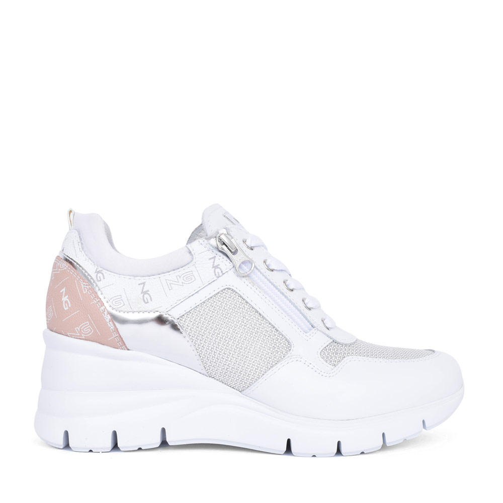 LADIES 115134 LACE UP WEDGE SHOE in WHITE
