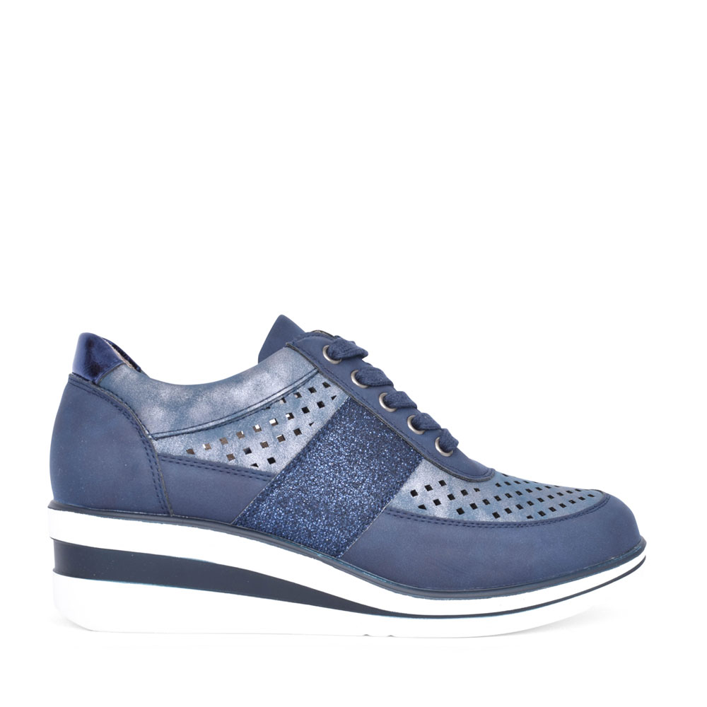 LADIES 6G20602K05 LACE UP WEDGE SHOE in NAVY
