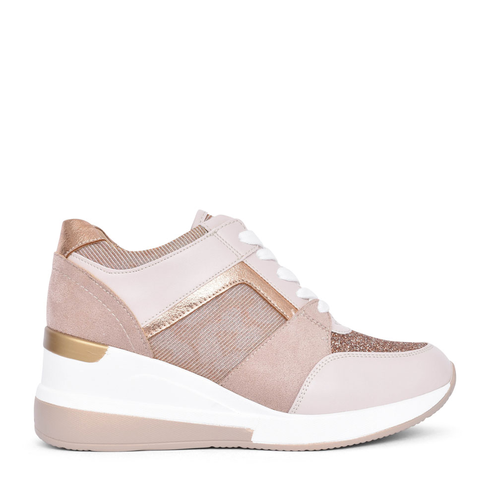 LADIES Q07110 LACE UP WEDGE SHOE in BEIGE