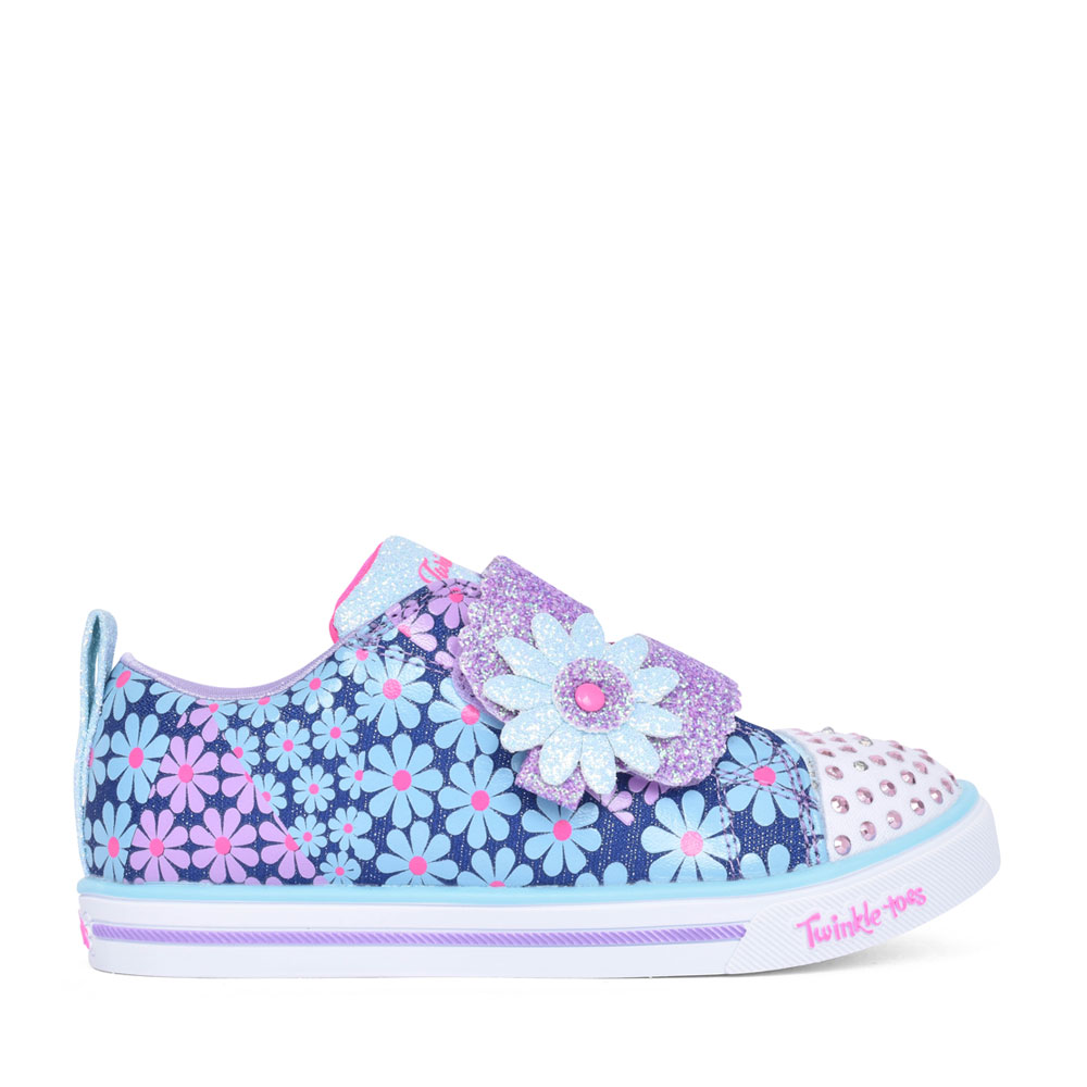 GIRLS 314762N SPARKLE LITE MINI BLOOMS VELCRO TRAINER in DENIM