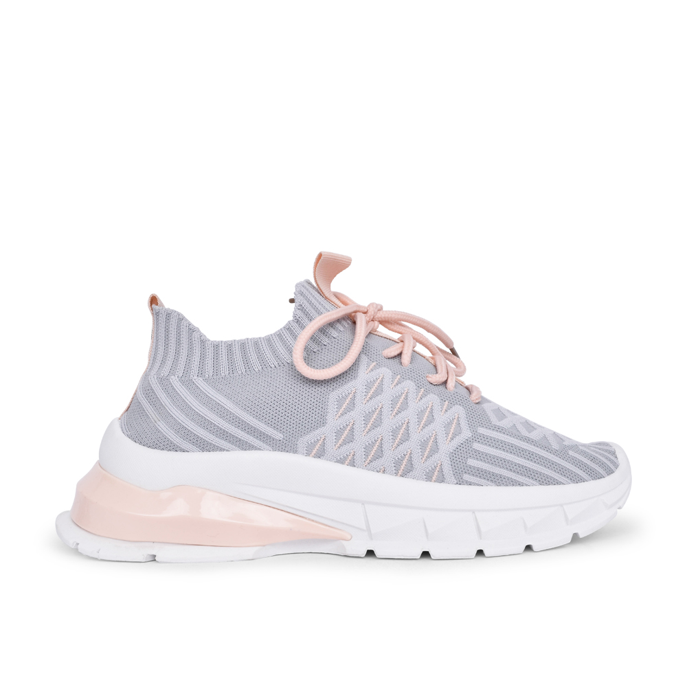 LADIES FLY LACE UP SHOE in GREY